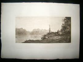 Dujardin after Charles Daubigny 1885 Photogravure. Banks on the Seine, Paris