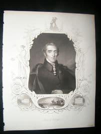 Duke of Wellington 1847 Antique Portrait Print. Payne