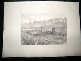 E. P. Branard after Alfred Hunt 1885 Steel Engraving. Thun, Switzerland