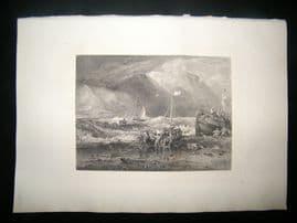 E. P. Branard after J. M. W. Turner 1885 Steel Engraving. Fishing Boats