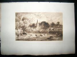 E. P. Brandard 1885 Etching. Chiselhurst Common