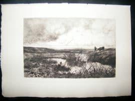 Edmond Yon 1885 Etching. Near the Coast at Cayeux-Sur-Mer, France