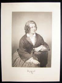 Eliza Cook 1873 Antique Portrait Print