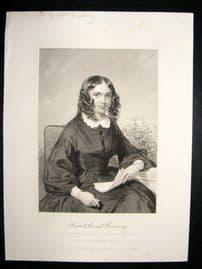 Elizabeth Barrett Browning 1873 Antique Portrait Print