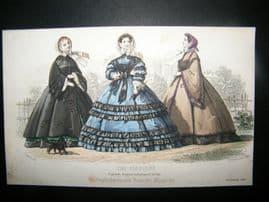 Englishwoman's Domestic Magazine 1860 Hand Col Fashion Print. November