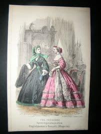 Englishwoman's Domestic Magazine 1861 Hand Col Fashion Print. October