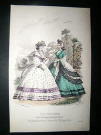 Englishwoman's Domestic Magazine 1862 Hand Col Fashion Print. July