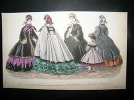Englishwoman's Domestic Magazine 1862 Hand Col Fashion Print. October