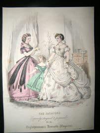 Englishwoman's Domestic Magazine 1864 Hand Col Fashion Print. January