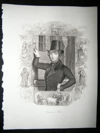 Eugene Sue 1847 Steel Engraving, Antique Print