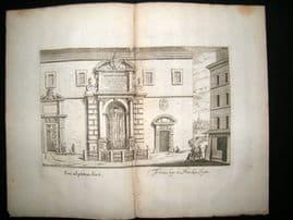 Falda Fountains of Rome 1685 Architecture Print. Fons ad Pontem Sixti