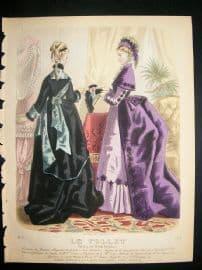 .Fashion Print: 1874 hand colored Le Follet #1014