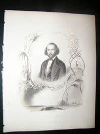 Felicien David, Music 1847 Antique Portrait Print. Payne