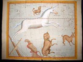 Flamsteed Atlas Coelestis 1781 LG Folio Celestial Map. Monoceros, Canis Major 13
