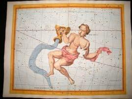 Flamsteed Atlas Coelestis 1781 LG Folio H/Col Celestial Map. Aquarius. Astrology