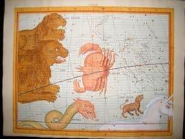 Flamsteed Atlas Coelestis 1781 LG Folio H/Col Celestial Map. Cancer 4 Monsters