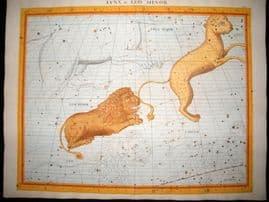 Flamsteed Atlas Coelestis 1781 LG Folio H/Col Celestial Map. Lynx & Leo Minor 18