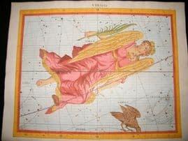Flamsteed Atlas Coelestis 1781 LG Folio H/Col Celestial Map. Virgo 6 Astrology