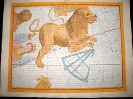 Flamsteed Atlas Coelestis 1781 LG Folio Hand Col Celestial Map. Leo 5