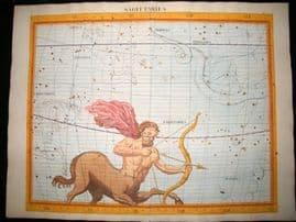 Flamsteed Atlas Coelestis 1781 LG Folio Hand Col Celestial Map. Sagittarius 8