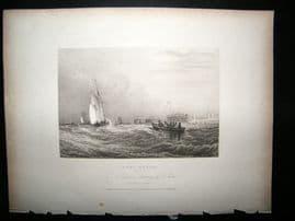 France 1834 Antique Print. Fort Rouge, Calais, Boats