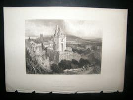 France 1838 Antique Print. Chateau of Dieppe