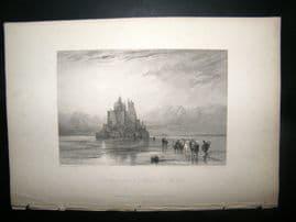 France 1838 Antique Print. Distant view of Mont St. Michel, Normandy