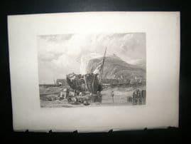 France 1838 Antique Print. Fecamp