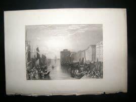 France 1838 Antique Print. Havre