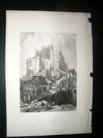 France 1838 Antique Print. Mont St. Michel, Normandy