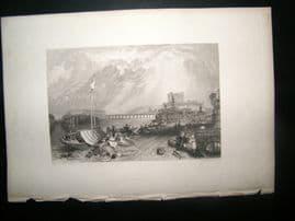 France 1838 Antique Print. Saumur