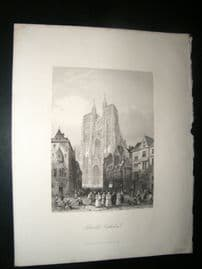 France 1847 Antique Print. Abbeville Cathedral