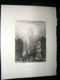 France 1847 Antique Print. Rouen