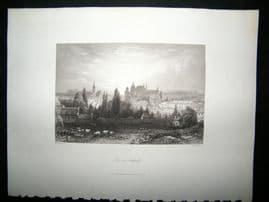 France 1847 Steel Engraving, Aix-La-Chapelle, Antique Print