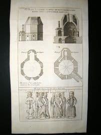 France C1750 Antique Print. Temple of Montmorillon