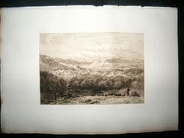 Fred Slocombe after David Cox 1885 Etching. Pont-Y-Cyssyltte, Wales