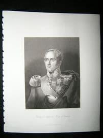 Frederick Augustus, King of Saxony 1847 Steel Engraving, Antique Print
