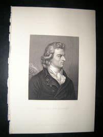 Frederick cvon Schiller C1860 Steel Engraved Portrait Print