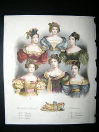 French Theatre Actresses, Julia, Alexis, Montessu 1833 Hand Col Portrait Print