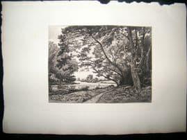 G. Greux after Harpignies 1885 Etching. The Seine near Bois de Boulogne, France