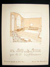 Gazette du Bon Ton 1920 Art Deco Interior Design Litho. #41