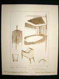 Gazette du Bon Ton 1920 Art Deco Interior Design Litho. #43