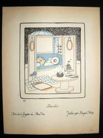 Gazette du Bon Ton 1920 Art Deco Interior Design Litho. Studio #29