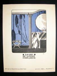 Gazette du Bon Ton 1921 Art Deco Design Litho. Salon De laque Noir & Bleu