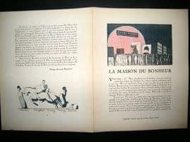 Gazette du Bon Ton 1921 Art Deco Print. Cinema Advert - Charlie Chaplin etc