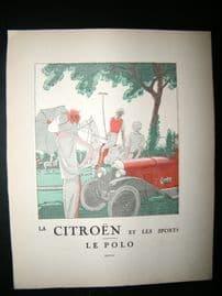 Gazette du Bon Ton 1922 Art Deco Print. Citreon Car Advert, Sporting - Polo