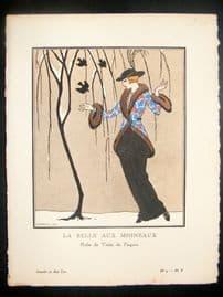 Gazette du Bon Ton by Barbier 1912 Art Deco Pochoir. La Belle Aux Moineaux