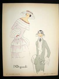 Gazette du Bon Ton Croquis 1922 Deco Pochoir by David. L'Organdi #1
