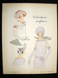 Gazette du Bon Ton Croquis 1922 Deco Pochoir. La Broderie Anglaise #7