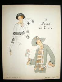Gazette du Bon Ton Croquis 1922 Deco Pochoir. Le Point De Croix #5